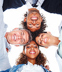 Upward view of business people with their heads together on a white background