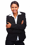 Young business woman standing with hands folded