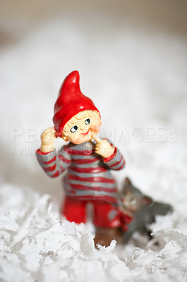 Buy stock photo Cute little Christmas decoration in snow - copyspace