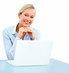 Happy young woman in business smiling , with laptop