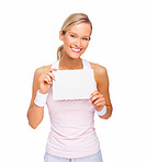 Happy young blond woman showing copy space