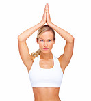 Portrait image of a healthy girl doing yoga with copyspace