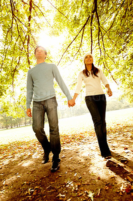 Buy stock photo Young couple  walking together in Autumn