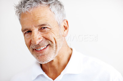 Buy stock photo Portrait of casual mature business man smiling on