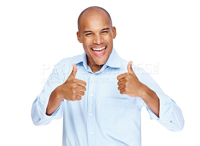 Buy stock photo Success in business - Happy business man showing thumbs up with both hands on white