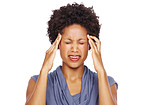 African american young woman suffering from headache