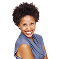 Attractive black woman smiling isolated on white