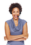 Beautiful young woman smiling and wearing a headset
