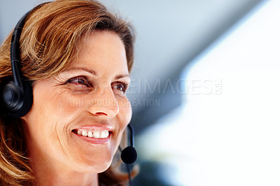 Buy stock photo Portrait of happy young woman wearing headset