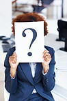 Who's next? Woman holding question mark signboard