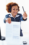 Customer care operator showing contract document