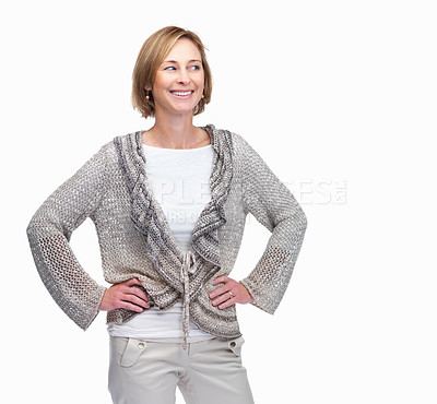 Buy stock photo Confident mature woman looking at copyspace isolat