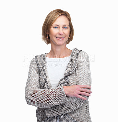 Buy stock photo Happy casual businesswoman smiling over white back