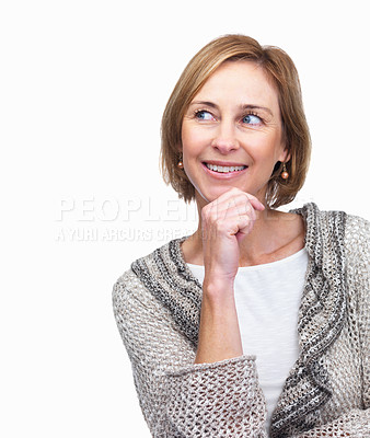 Buy stock photo Mature woman looking at something interesting on w