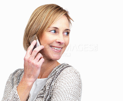 Buy stock photo Pretty middle aged woman speaking on mobile phone