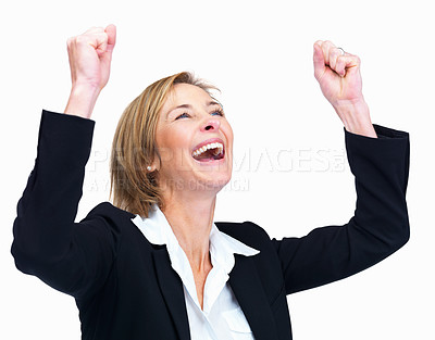Buy stock photo Cheerful business woman celebrating success over w