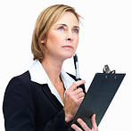 Thoughtful business woman wlth pen in hand- White background
