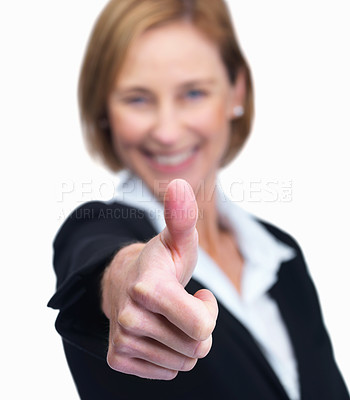 Buy stock photo Portrait of a female entrepreneur showing a thumbs