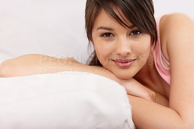 Buy stock photo Cute teenaged female smiling in bed