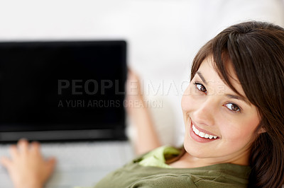 Buy stock photo Happy sweet female using a laptop