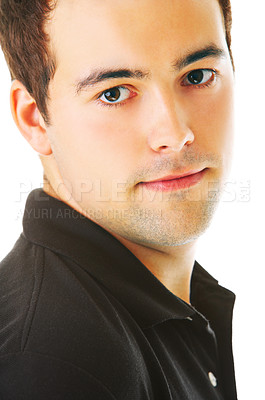 Buy stock photo Studio shot of a handsome young man isolated on white