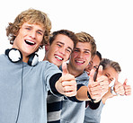 Group of happy laughing students giving the thumbs up
