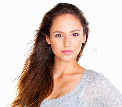 Buy stock photo Head shot of woman looking serious against white background