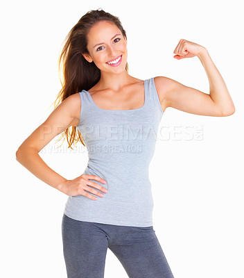 Buy stock photo Woman flexing her bicep against white background