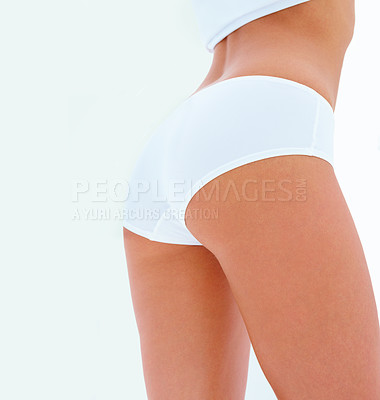 Buy stock photo Back and ass of a beautiful woman isolated on white background