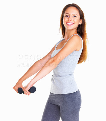 Buy stock photo Woman using dumbbells to work out her arms, isolated on white - copyspace