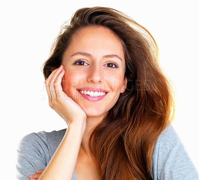 Buy stock photo Woman leaning with face in hand