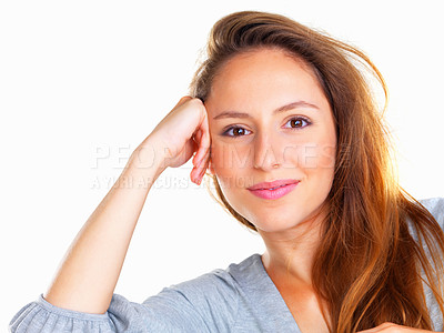 Buy stock photo Head shot of woman casually leaning on hand