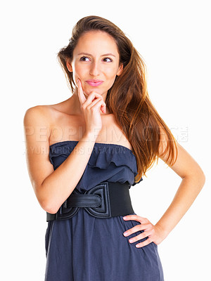 Buy stock photo Woman thinking with hand on chin