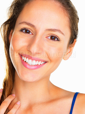 Buy stock photo Head shot of woman smiling against white background