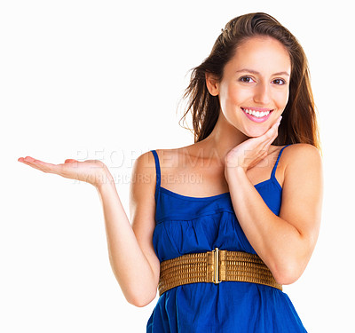 Buy stock photo Woman standing with palm upwards