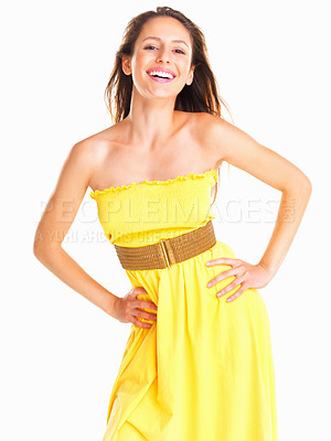 Buy stock photo Woman smiling with hands on hips