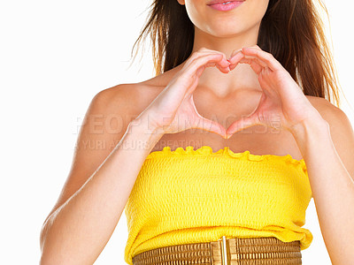 Buy stock photo Woman making heart sign with hands