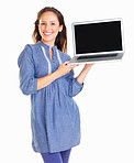Approachable woman presenting with a laptop