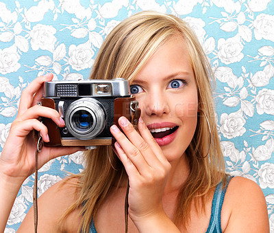Buy stock photo Close up of a girl clicking camera smiling