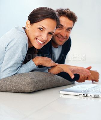 Buy stock photo Handsome man and woman looking at you