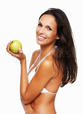 Buy stock photo Sexy woman holding apple