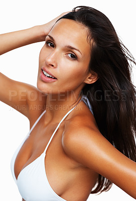 Buy stock photo Confident woman with hand in hair