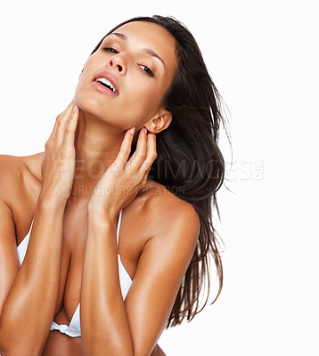 Buy stock photo Sensual woman with her hands lightly touching face
