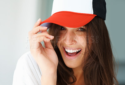 Buy stock photo Sexy woman with baseball cap smiling