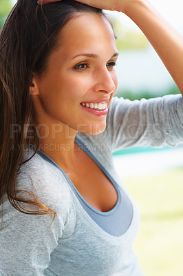 Buy stock photo Pretty woman with hand on head