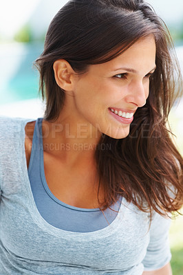 Buy stock photo Pretty woman smiling and looking away