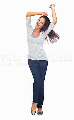 Buy stock photo Full-frame sexy woman casually dancing with arms overhead