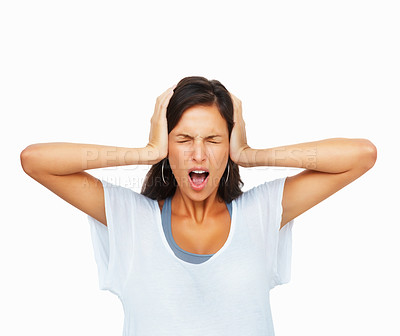 Buy stock photo Woman holding head and screaming against white background