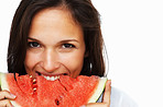 Pretty woman eating watermelon