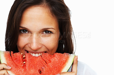 Buy stock photo Woman against white background taking a bite of watermelon